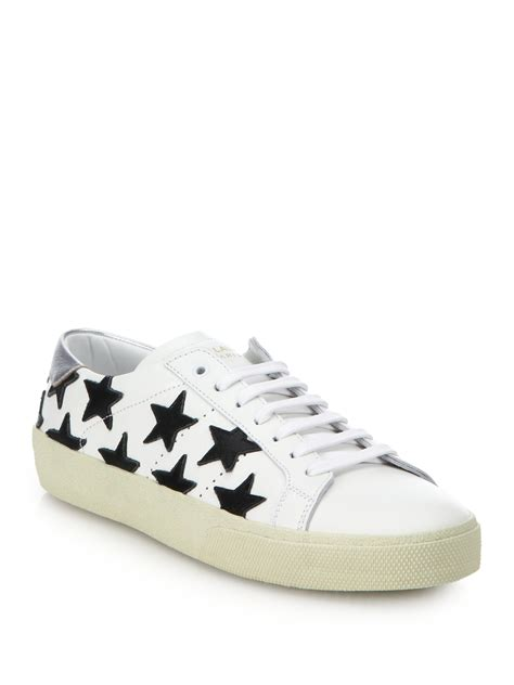 s laurent sneakers laurent leather lace up sneakers in white lyst