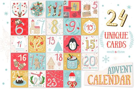 printable christmas advent calendar illustrations