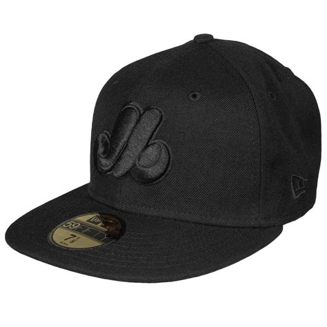 montreal expos authentic fitted mlb baseball cap black black