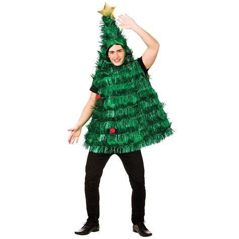adults deluxe tinsel christmas tree fancy dress costume