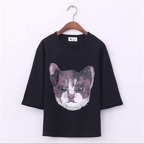 Cat Print Sleeve Shirt cat print crew neck sleeve t shirts