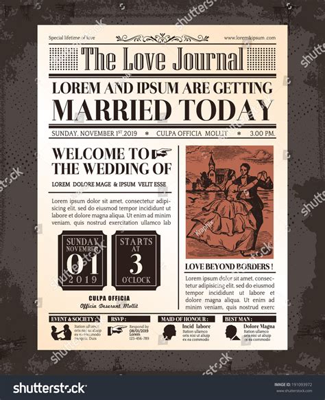 classic newspaper template vintage newspaper journal wedding invitation vector stock