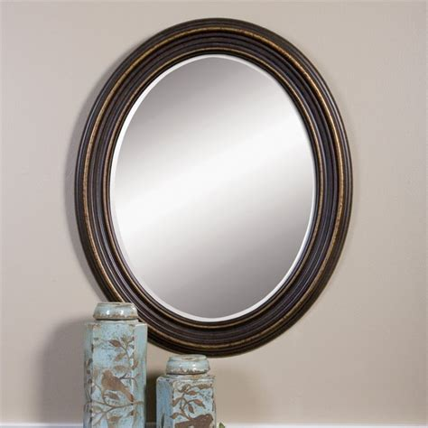 oil rubbed bronze mirror for bathroom uttermost ovesca decorative mirror in dark oil rubbed