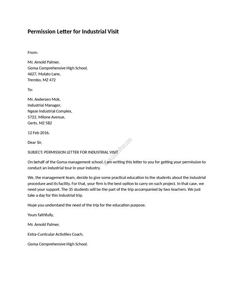 visit authorization letter template exle of permission letter for industrial visit as its