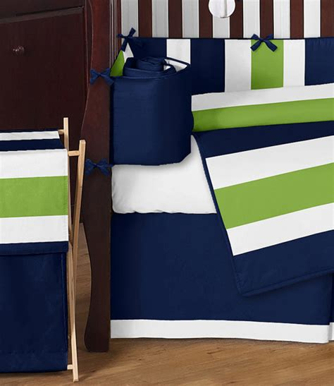 Navy Blue And Green Crib Bedding Navy Blue Lime Green White Stripes Baby Boys Room Crib Bedding Comforter Set Ebay