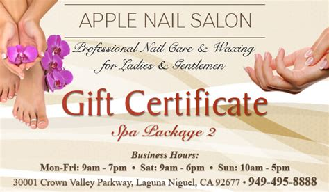 nail salon gift card template spa package 2 gift certificate apple nail salon