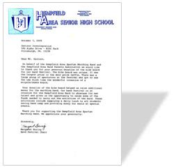 Thank You Letter To Band Hempfield Area Senior High School Davison