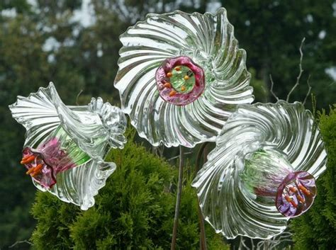 Garden Glass Flowers 20 Upcycled Garden Glass Flowers Made Of Plates