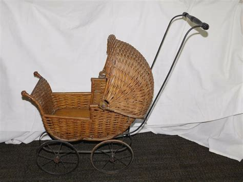 vintage antique  high early  wicker pram baby doll