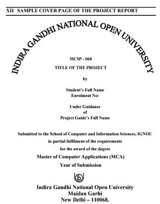 Cover Page For Mba Project Pepperdine by Ignou Mcsp 060 Project Synopsis And Guidelines 2017 18