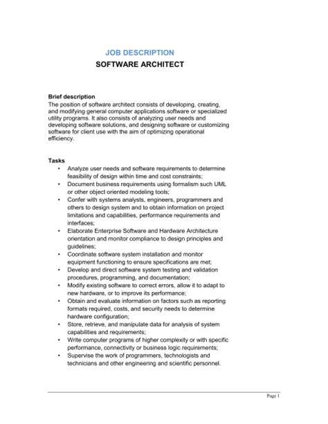 Architects Description by Software Architect Description Template Sle Form Biztree