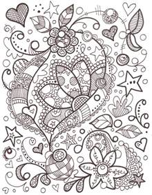 doodle color girly doodle colouring pages