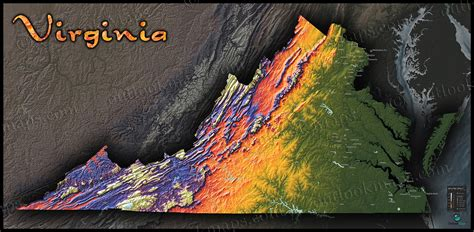 virginia topographic map virginia topography map physical landscape in bright colors