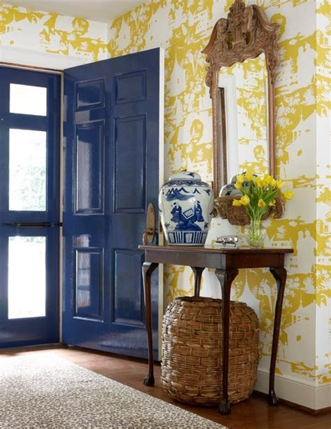 yellow foyer yellow and white wallpaper cottage entrance foyer