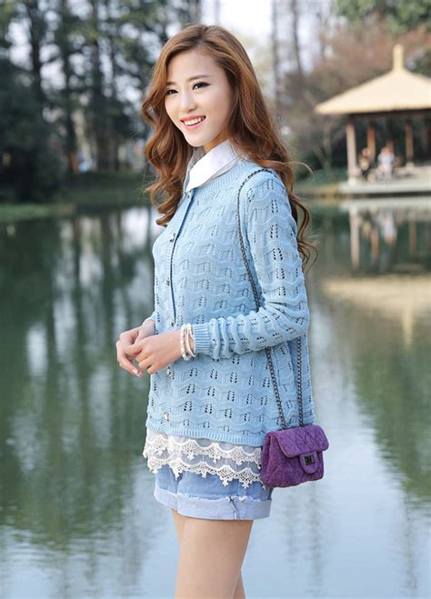 Rajut Wanita Cardigan Colour baju cardigan rajut korea jyy1171 4color coat korea