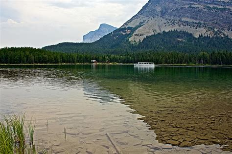 swift lake boat r shuttle boat for hikers on swiftcurrent lake in glacier