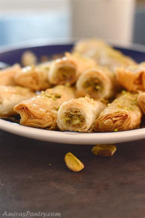 Arabic Sweet Baklava Roll Mixnut authentic baklava recipe baklava rolls amira s pantry