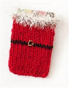 santa knit gift card sleeve allfreeknitting com