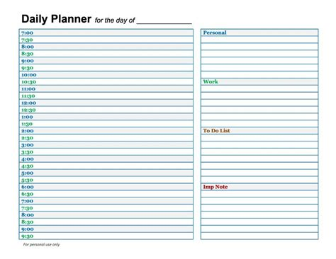 printable daily calendar template 40 printable daily planner templates free template lab