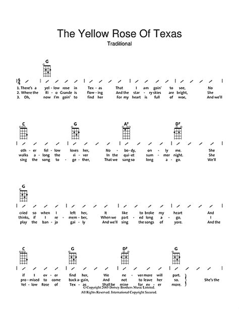 strumming pattern for yellow the yellow rose of texas sheet music by traditional