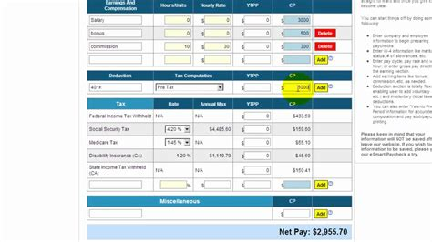 wage deductions calculator free payroll tax paycheck calculator