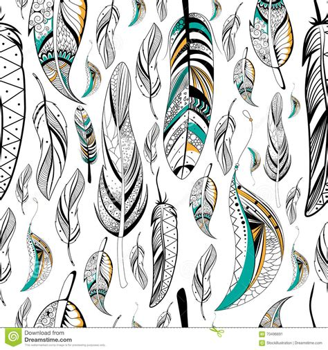 tribal pattern feather tribal boho style feather seamless pattern stock vector