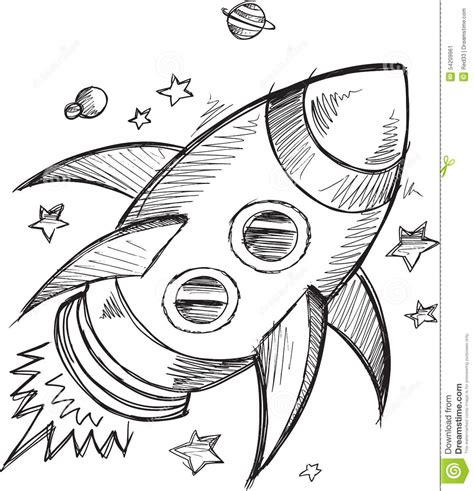 doodle rocket doodle rocket outer space vector stock vector