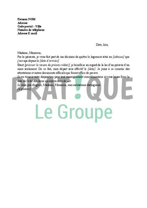 modele lettre preavis demenagement mutation document