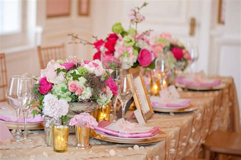 vintage pink green and gold wedding decor ideas