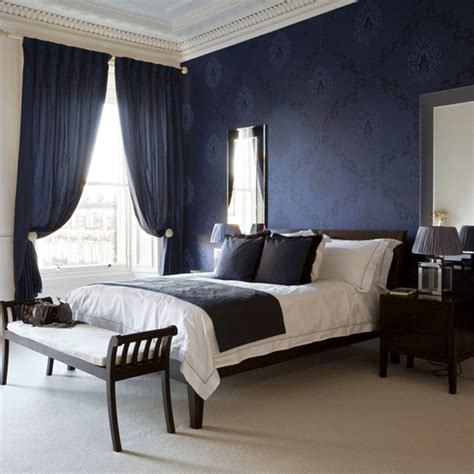 Navy Bedroom Curtains | dramatic bedroom navy bedroom designs curtains