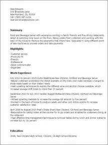 food and beverage resume template professional food and beverage server templates to