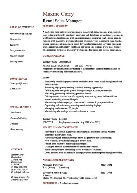 retail manager sle resume retail description for resume best resume gallery