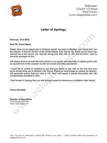 Apology Letter After Cancellation Of Order Apology Letter Sample Send To Hotel Guests
