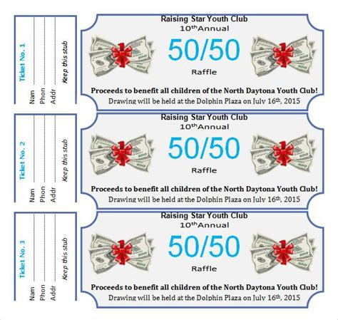 50 50 raffle ticket template free 50 50 raffle ticket template free free template