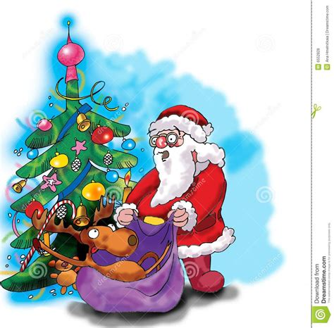 img of santa claus and x mas tree deer santa claus and tree stock vector image 6552828