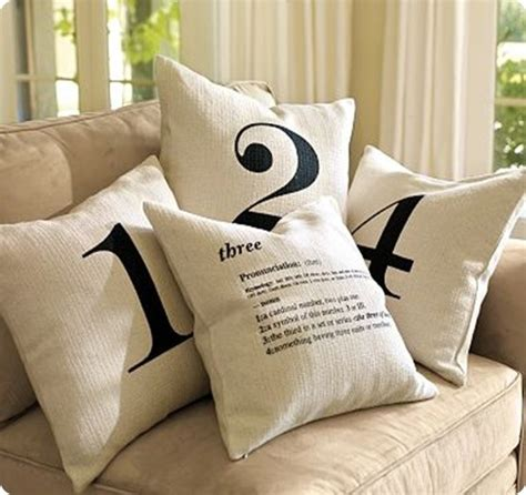 stenciled number pillows