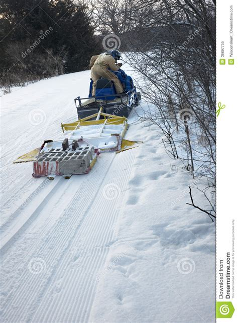 Backyard Hockey Download Grooming Cross Country Ski Or Skiing Trail Royalty Free