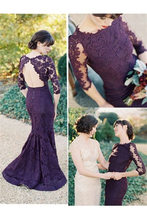 Lace 3 4 Sleeve Evening Gown 3 4 length sleeves mermaid purple lace prom dresses