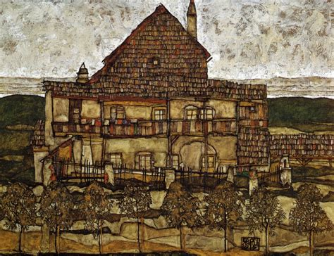 House Portrait Artist by House With Shingles 1915 Egon Schiele Wikiart Org