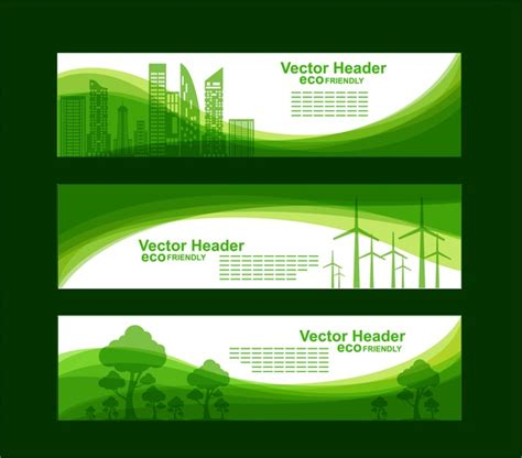 design banner green eco banner sets green city tree curves style free vector