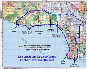 ticks in california los angeles county west locations of