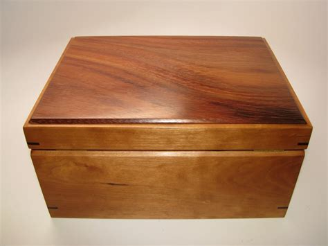 Handcrafted Wooden Boxes - keepsake box warmly toned katalox and cherry