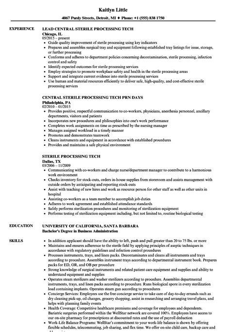 sterile processing tech resume sles velvet