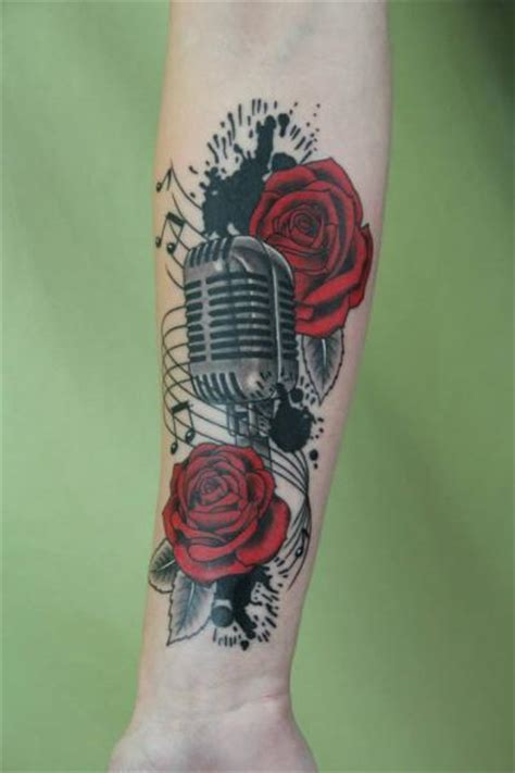 microphone flower tattoo arm realistic flower microphone tattoo by skin deep art