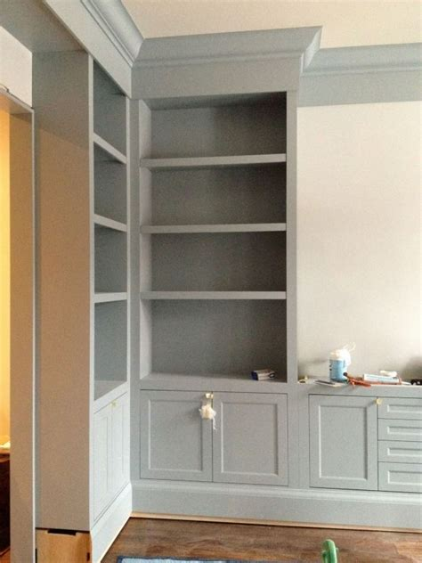 Built In Corner Bookcase Gorgeous Gray Cabinet Paint Colors Benjamin Gray And Built Ins