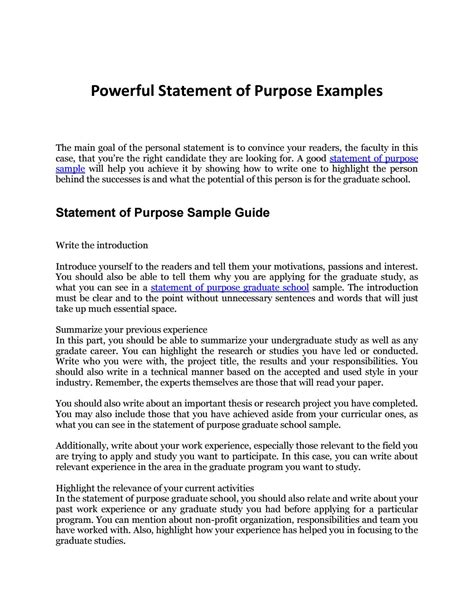 Template For Statement Of Purpose For Graduate School