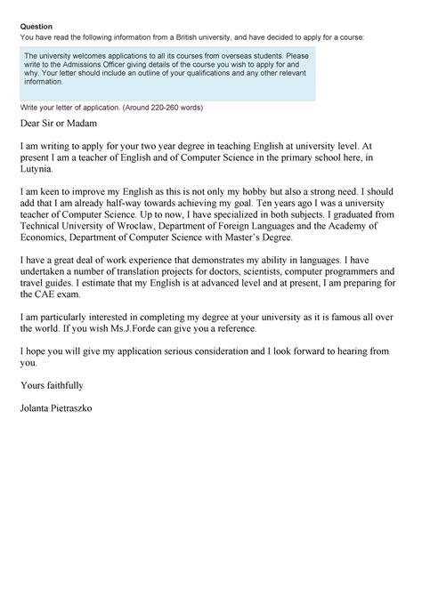 sample writing cae exam letter application