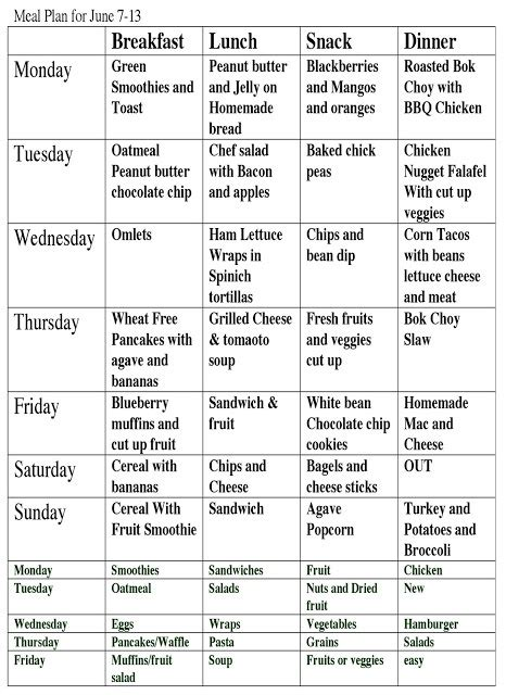 daily food schedule health tips