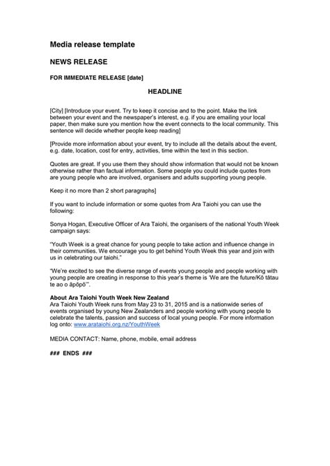 media release template media release template in word and pdf formats