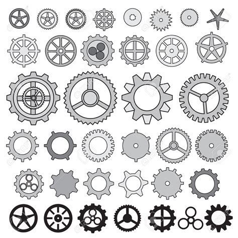 zentangle pattern cogwheel steunk gear collection machine gear wheel cogwheel